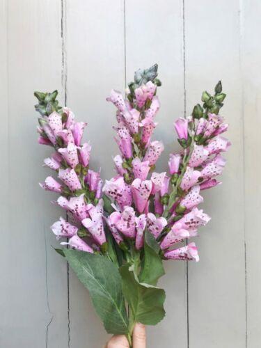 Bunch of 3 Faux Silk Foxglove Pink Artificial Wild Flowers Summer Fox Gloves