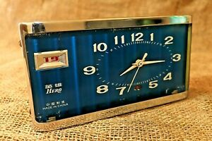 Vintage Hero Alarm Clock with Date, Rare blue alarm clock Wind-Up Desk Clock #90