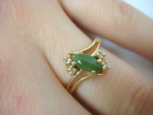 Nice 14k Yellow Gold Jade And Diamonds