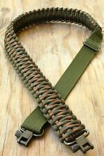 Adjustable Paracord Rifle Gun Sling Strap With Swivels OD Green & Woodland Camo