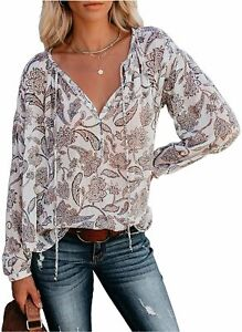 MLEBR Womens Long Sleeve V Neck Casual Floral Leopard, B White, Size X-Large