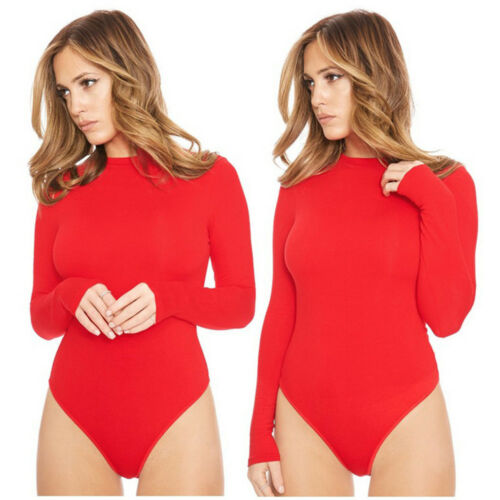 UK Womens Ladies Long Sleeve Stretch Bodycon Bodysuit Playsuit Plain Casual Top