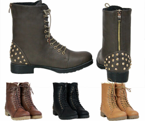 4 Ladies Women/'s Military Boots Army Combat Ankle Lace Up Flat Biker Zip Size