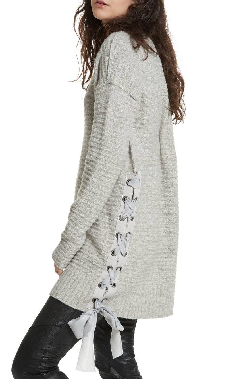 FREE PEOPLE Women Oversize Heart It Laces Thermal Sweater Tunic Mini Dress Grey