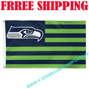 3X5 FT Seattle Seahawks Stars and Stripes NFL Flag Banner Logo USA Flag