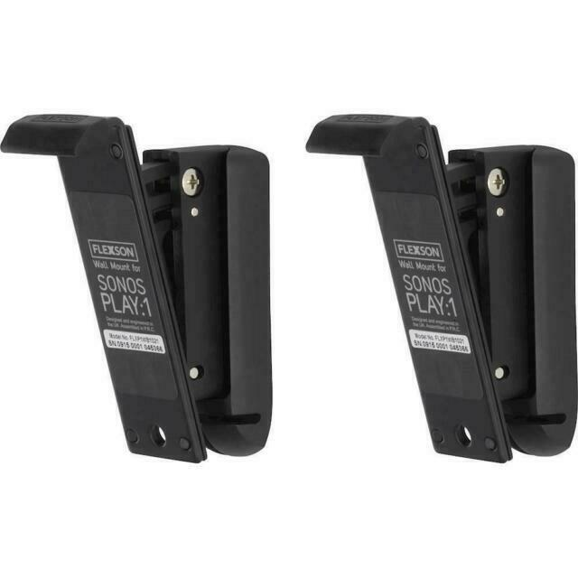 Black Flexson Wall Mount for Sonos PLAY:1 with Mounting Hardware Pair