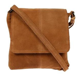 Damen-echt-Leder-Tasche-Schultertasche-Handtasche-Umhaengetasche-Frauen-Cognac