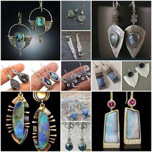 Vintage-925-Silver-Turquoise-Ear-Hook-Stud-Dangle-Drop-Earrings-Women-Jewelry