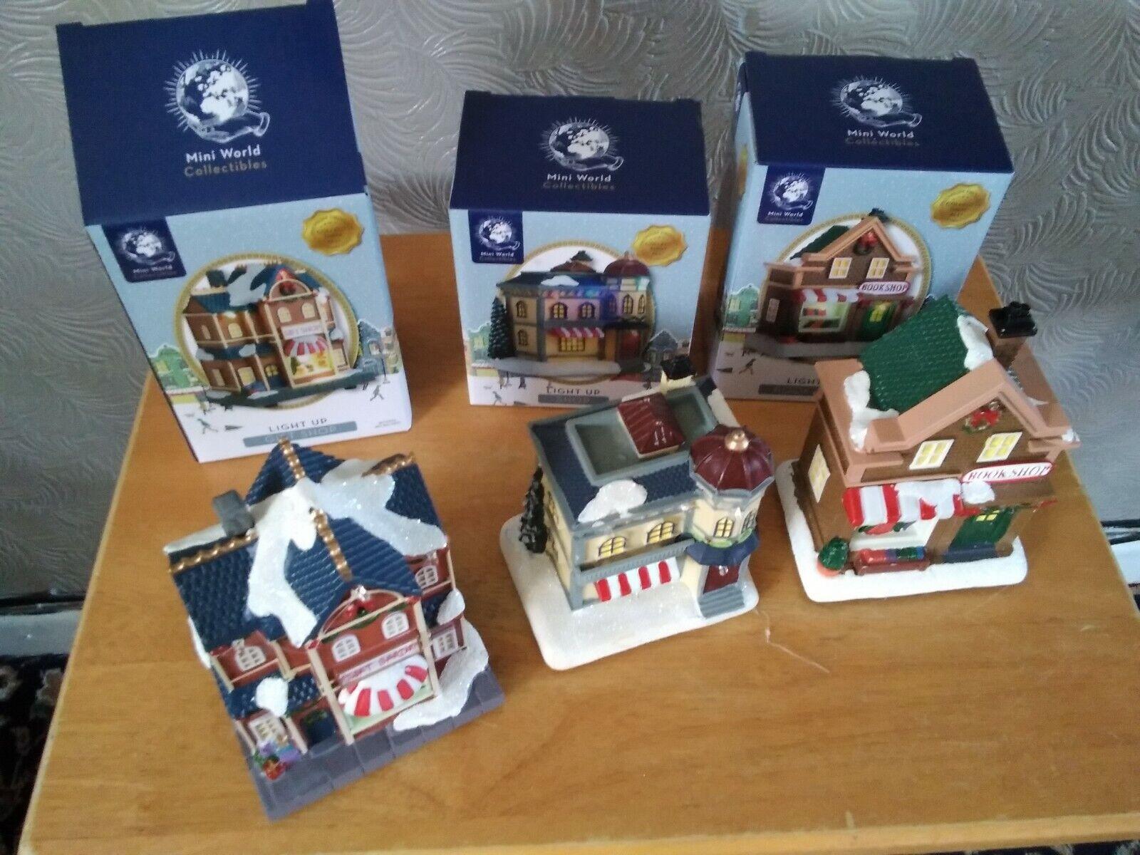 Resina de escena de Navidad Mini Village People ciudad en miniatura Luz de 3 Nuevo