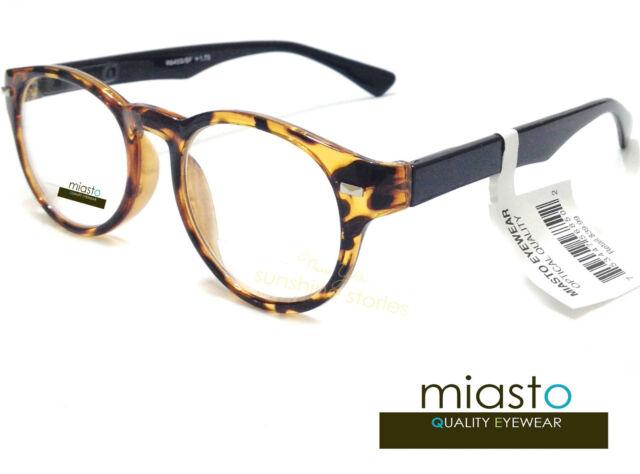 NWT$39.99 MIASTO RETRO ROUND PREPPY READER READING GLASSES+1.25 TORTOISE BROWN