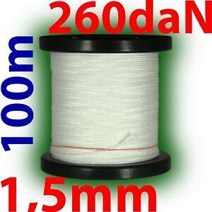 100m professionelle Dyneema Drachenschnur 1,5mm 260daN weiß