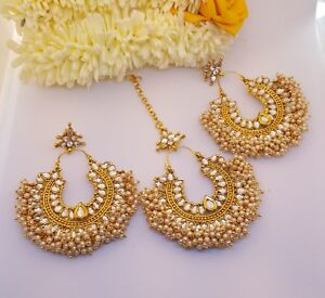 Image Is Loading Uk Er Golden Kundan Bollywood Indian Tikka Earring