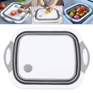 4en1 cocina tabla cortar plegable fregadero fregadero cesta drenaje herramienta