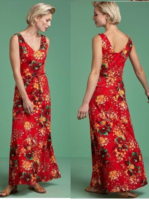 King Louie Maxi-Kleid Long-dress rot rot geblümt Blaumen Fiery Spendid 03876