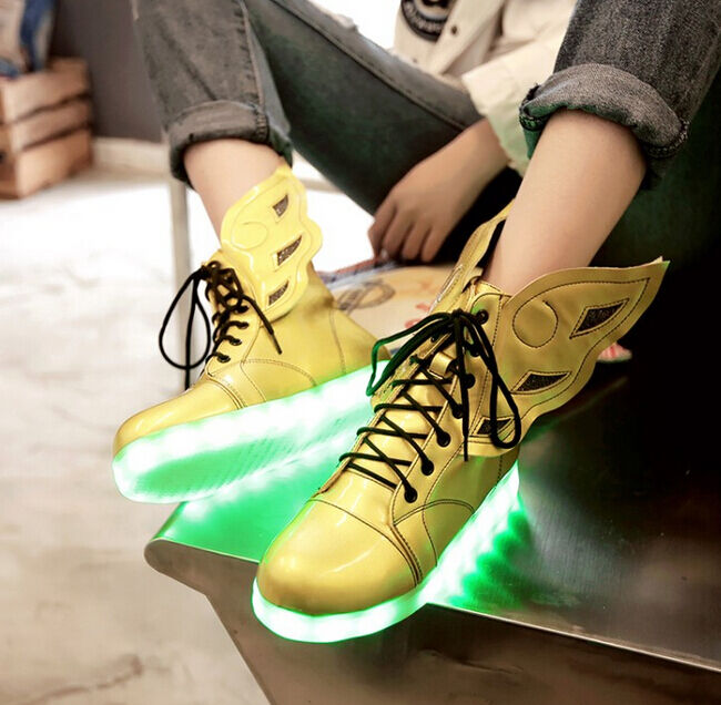 Women's Fur LED Light Wing Ankle Boots Hi Top USB Charge Casual Shoes Sneakers