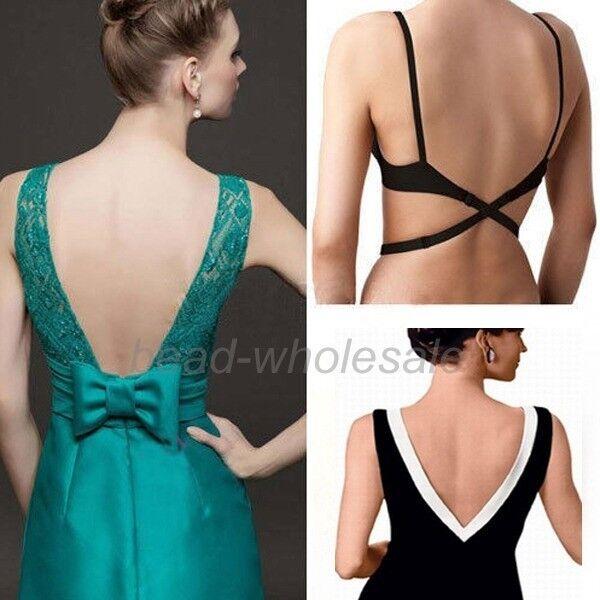 BLACK WHITE BEIGE WOMENS LOW BACK BRA STRAP EXTENDER BACKLESS TOP DRESS SINGLET