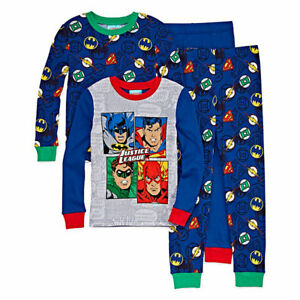 36c03d43b Justice League Batman Superman 4 Piece Cotton Pajama Set - Boys Size ...