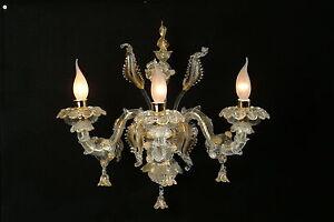 Applique di murano originale ca rezzonico 3 luci cristallo e oro ebay