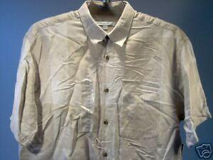 Geoffrey-Beene-Short-Sleeve-SS-Shirt-Beige-Tan-Size-L-Men-New-NWT