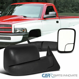 Dodge 94 01 Ram 1500 94 02 Ram 2500 3500 Manual Flip Up Trailer Towing Mirrors Ebay
