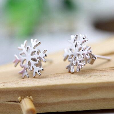Lovely New Women 925 Silver Plated Snowflake Flower Ear Studs Earrings Jewelry