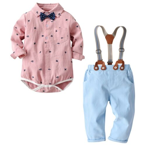 Infant Baby Kid Boys Bow Gentleman Plane Tops T-Shirt Romper Trousers Pant Set