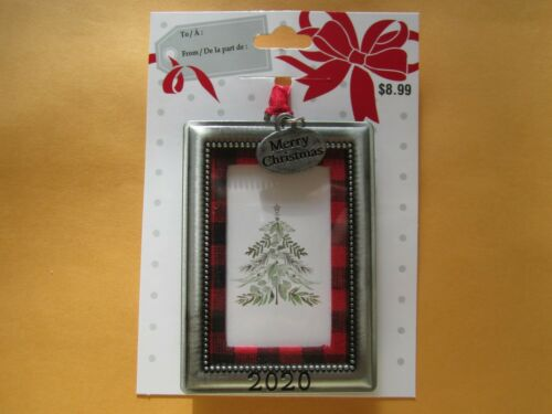 """Christmas Tree Ornament Picture Frame  2020 /""""Plaid with Merry Christmas Tag/"""""""