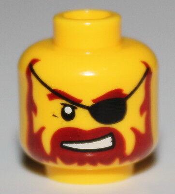 Lego Pirate Yellow Minifig Head Reddish Brown Beard Eye Patch