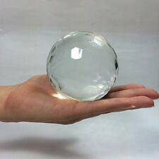 """Crystal Glass Ball, Faceted Clear White 80mm (3.25"""") + wood stand"""