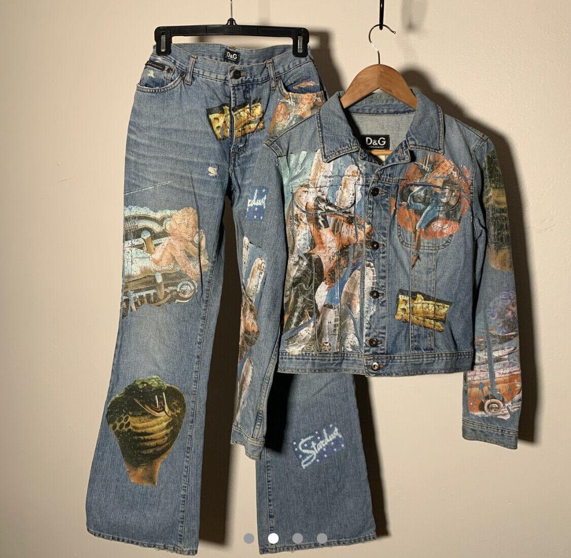 Dolce Gabbana Jean Jacket Pants Vintage 90's Prin… - image 3