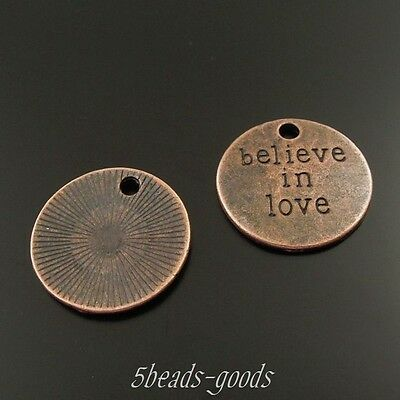 29Pcs Vintage Copper Tone Round Words Hot Sale Charms Pendant 19*19*2mm