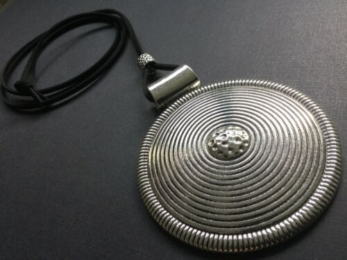 BLACK Suede Long STATEMENT Necklace With A Huge Silver Hammered Disc Lagenlook