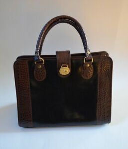 Croc Embossed Brown Leather Euc