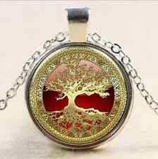 Gold Tree of Life Cabochon Glass Tibet Silver Chain Pendant Necklace