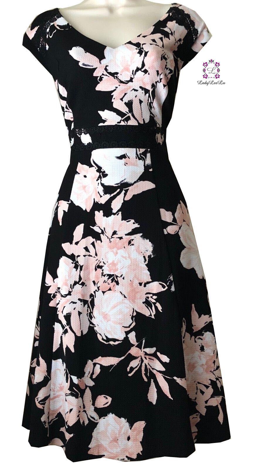 Karl Lagerfeld Paris Floral Printed V-Neck Fit & Flare Dress L8BB6946 Größe 8 10