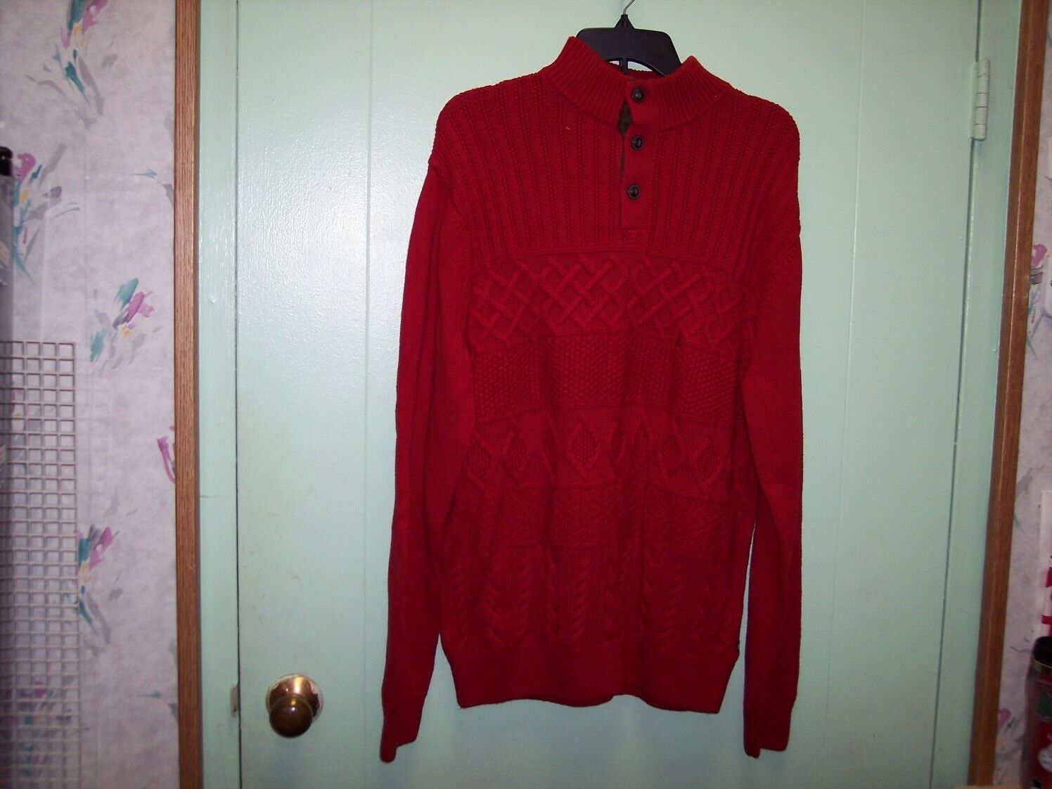 CHAPS MEN'S RED BUTTON UP SWEATER SIZE LARGE BRAND NEW