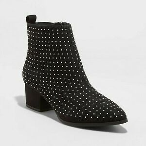 Women's Valerie with Studs City Ankle Bootie - A New Day Black 9