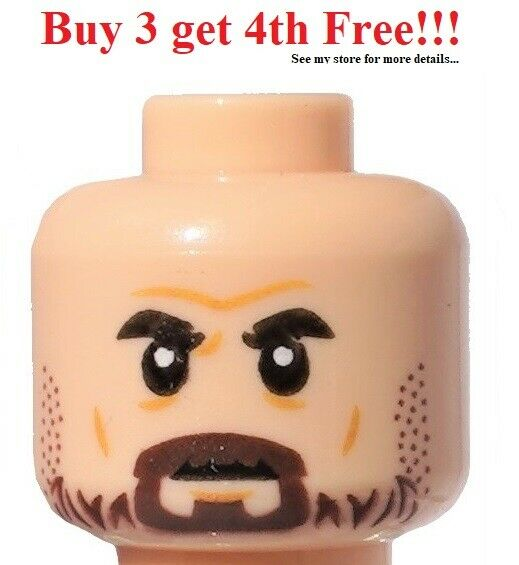 Bushy Eyebrows HEAD MF022 Lego Male Light Flesh Black Beard Moustache NEW POTC