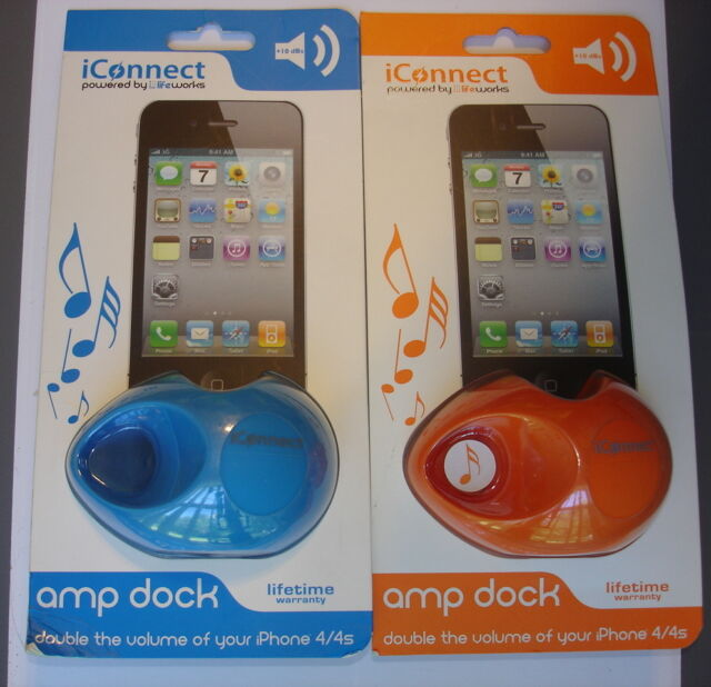 iConnect Amp Dock by Lifeworks Amplifier for iPhone 4 /& 4S in Orange ~ Sealed ~