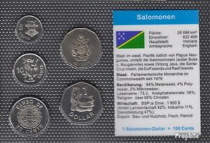 Salomoninseln 2005 Mint Unc Kursmünzen 2005 5 Cents Until 1 Salomonen-us Dollars For Improving Blood Circulation Coins