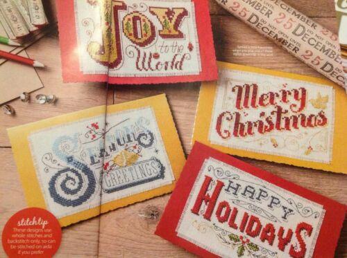 Emma Congdon Vintage Cards Joy Happy Holidays Christmas Cross Stitch Chart X8