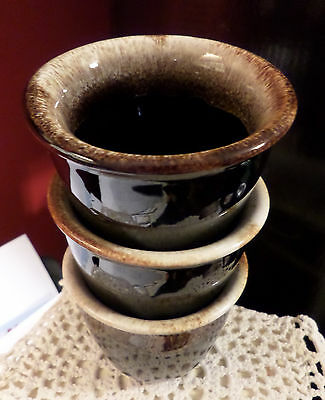 Pfaltzgraff Custard Cups (3) Brown Drip Ware Dripware