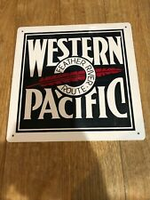 WESTERN PACIFIC LICENSE PLATE FEATHER RIVER ROUTE METAL SIGN RAILROAD TRAIN L204