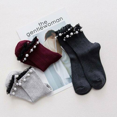 Cotton Solid Color Pearl Lace Rib  Simple Wild Series Women Loose Socks t