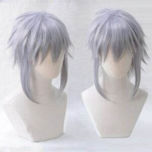 Game KINGDOM HEARTS 3 Riku Short Gray Purple Cosplay Hair Wigs + Wig Cap