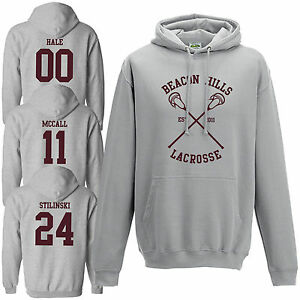 Details about Beacon Hills Lacrosse Hoodie Teen Wolf Stilinski McCall Heather Grey Hoody Top