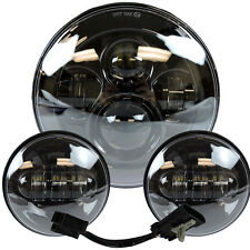 "7"" Led Projector Daymaker Headlight + Passing Lights For Harley Touring Black"