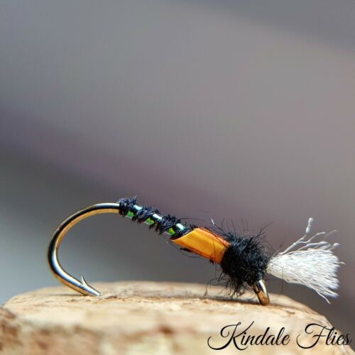 Set of 3 Lightweight Holo// Orange  Buzzers size 10 Fly Fishing Flies Trout