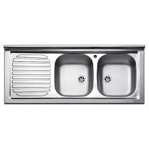 Lavello appoggio cucina in acciaio inox 120 cm 2 bocche gocciolatoio ...