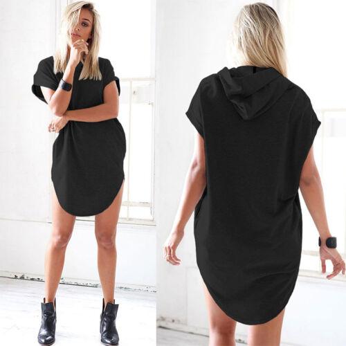 Damen Kurzarm Kapuze Longshirt Tops Pullover T-Shirt Hoodies Pulli Minikleid